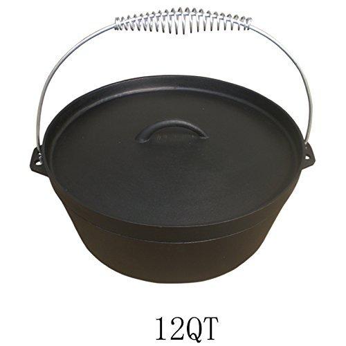 Dutch Oven 12QT Dutch-Oven aus Gusseisen Fertig eingebrannt 12er Koch-Topf aus Gusseisen voreingebrannt