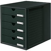 HAN 1450-13, Schubladenbox Systembox, Innovatives, attraktives Design mit 5 geschlossenen Schubladen, schwarz