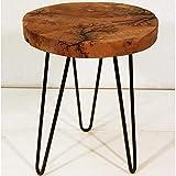 nxtbuy Beistelltisch aus Teakholz 35 x 35 x 40 cm - Sitzhocker Rund mit Metallbeinen - Natur Couchtisch aus Massivholz