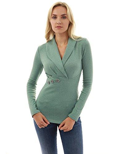 Einblick Kragen (PattyBoutik Damen Schalkragen Bluse mit Wickeloptik und Langen Ärmeln (hellgrün meliert 36/S))