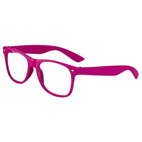Ciffre EL-Sunprotect Klar Glas Nerdbrille Brille Nerd Sonnenbrille Hornbrille Streber Pink