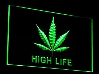 ADV PRO e006-g Marijuana Hemp Leaf High Life NR Neon Light Sign Barlicht Neonlicht Lichtwerbung