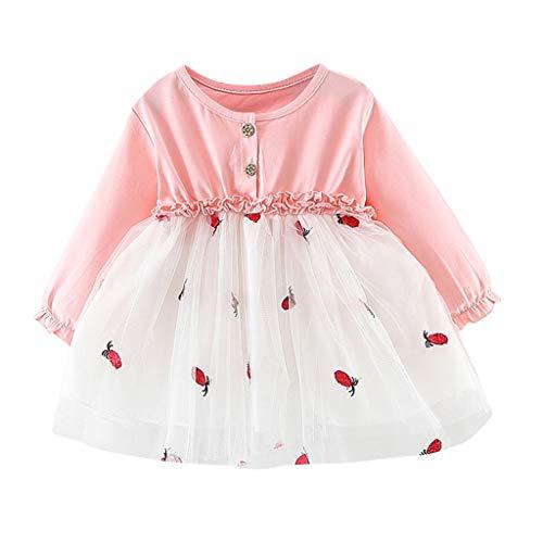 Realde--Baby Mädchen Langarm Mesh Patchwork Mini Kleid Stickerei Erdbeer-Print Strandrock Prinzessin Kleinkind Neugeborenes Kinderkleidung Partykleid Festlich Babybekleidung Abendkleid Kleidung -