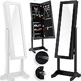 KESSER® Schmuckschrank mit Spiegel Schwarz, stehend & abschließbar Standspiegel Schmuckkasten Spiegelschrank