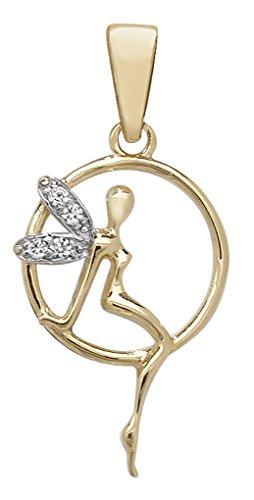 Or 9ct mailles jaseron-Oxyde de zirconium Pendentif Fée sur un collier