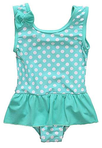 Anwell Kleinkind Mädchen einteilig Badekleid mit Krausen Grün Punkt Kostüme 18-24 (21 Kostüme)