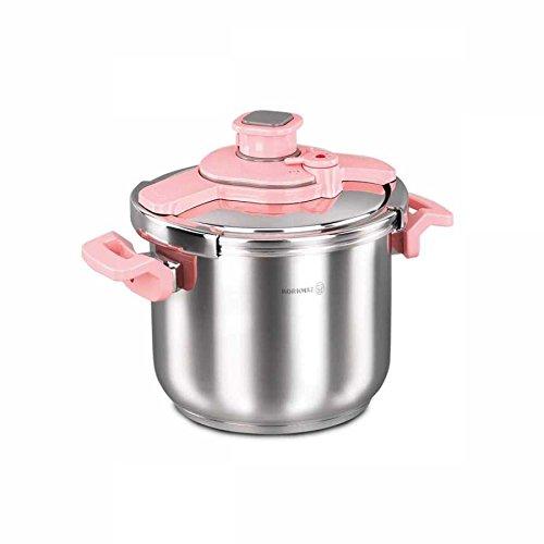 Korkmaz tessa - pentola a pressione, adatta all'induzione, lavabile in lavastoviglie, 7 l, in acciaio inox, colore: argento e rosa