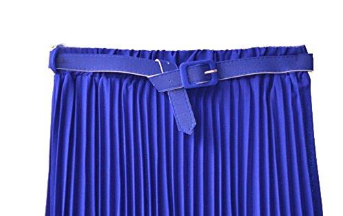Cheerlife Elastische Taille Damen Rock Plissierter Faltenrock Plisseerock A-Linie Falten Lang Rock mit Gürtel Blau
