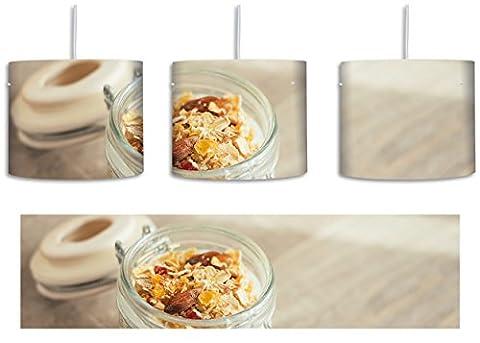 Jogurt Müsli im Glas inkl. Lampenfassung E27, Lampe mit Motivdruck, tolle Deckenlampe, Hängelampe, Pendelleuchte - Durchmesser 30cm - Dekoration mit Licht ideal für Wohnzimmer, Kinderzimmer, Schlafzimmer