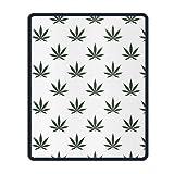 Marihuana Weed floral Mauspad mit genähten Kanten, rutschfeste Gummi-Mauspad One Size,Gummimatte 11,8