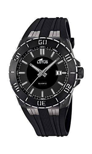 Lotus 15806/3 – Reloj analógico de cuarzo para hombre con correa de caucho, color negro