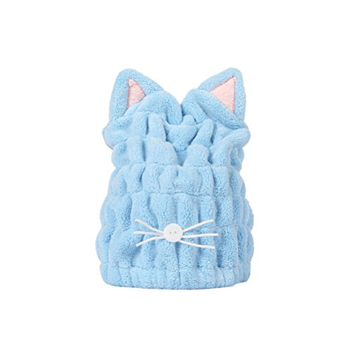 Lurrose Haar trocknende Handtücher Katze Ohr Haar Kappe schnell trocken Hut Cartoon Katze Haare wickeln Handtuch (blau)