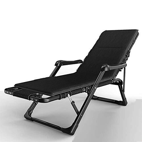 CCDZDM Rocking Lounger Lounge Chair, 180 ° Flach Klappbare Liege, Getränkehalter Auf Einer Seite, Handmassage Und Fußmassage (Farbe: Schwarz + Matte), B, B -