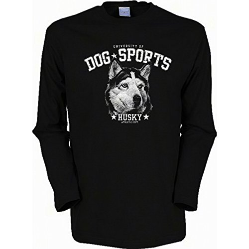 Langarm-Shirt mit Hunde Motiv geil bedruckt / Dog Sports - Husky ! Schwarz
