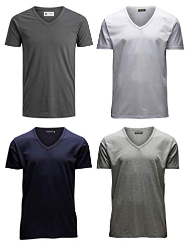 JACK & JONES Herren T-Shirt JJEBASAL Tee V-Neck GER KA - Slim Fit 4er Pack in vielen Farbvarianten, Größe:XXL, Farbe:1x Asphalt 1x Sky Captain 1x White 1x Light Grey -