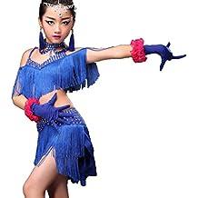 b5f0fc889af4 YZLL Vestito da Ballo Latino per Bambini Vestito da Spettacolo di Danza  Latina Ragazze Vestito da