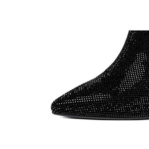 moda autunno sottile di black Stivali e Scarpe QPYC strass in scarpe pelle Punta alto con donna tacco inverno P6PxTnBqv
