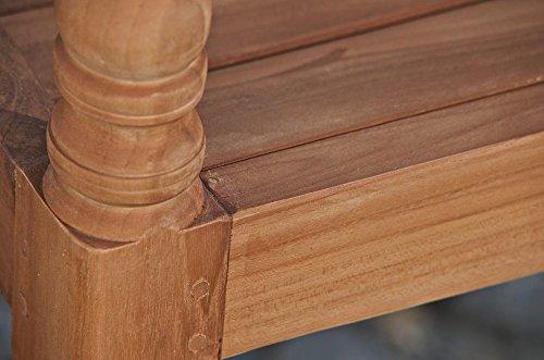 CLP Teak-Holz Gartenbank MARYLAND V2, massiv, wetterfest, bis zu 3 Größen wählbar, wird teilmontiert angeliefert 120×54 cm - 6