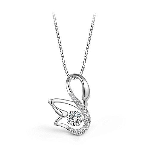 Elegance Parisienne Modisch Halskette Swarovski Elements Schwan Anhänger Silber 925 plattiert Swan Kristall Für Frauen Damen Kinder Mädchen Glitzer Strass Geschenk