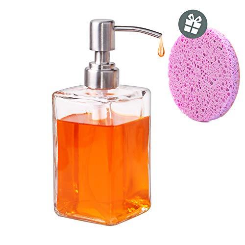 Rosa Lotion Seife (Hanamichi Seifenspender, Glasflasche Seifen und Lotionspender mit Edelstahlpumpen - 300 ml Für Flüssigseifen, Lotionen, Händedesinfektionsmittel und mehr (EIN rosa Zellstoff Baumwolle enthalten))