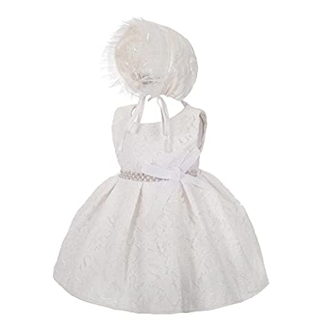 Lito Angels Baby Girls' Diamante Lace Baptism Christening Gown Wedding Flower Girl Dress with Bonnet Size 6 Months