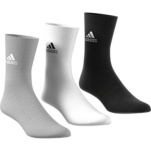 adidas Light Crew 3pp, Socks Uomo, Medium Grey Heather/White/Black, S