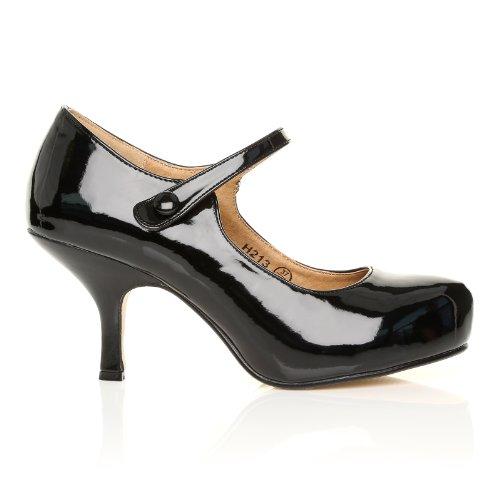 Scarpe con tacco Medio e Plateaux Nascosto Mary Jane in Ecopelle Verniciata Nera Vernice nera