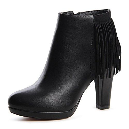 Topschuhe24 638 plateau ankle boots bottines femme Noir - Noir