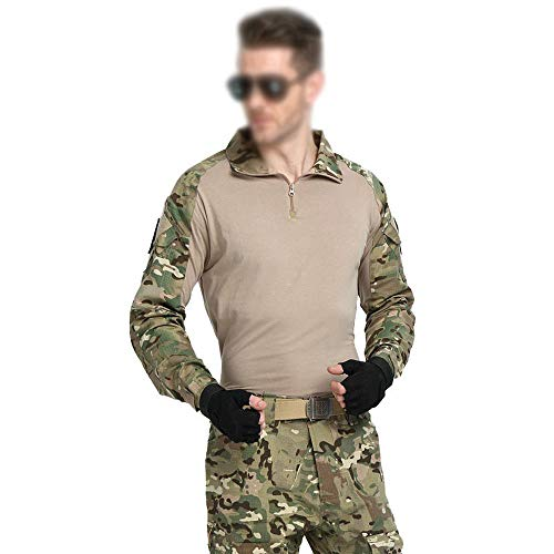 Qrigf Tactical Trainingsanzug Camouflage Frog Kleidung Anzug Männer Special Forces Army Fan Desert Frog Anzug Camouflage Uniform Trainingsanzug Beige- Tops L+ Pants 34 -