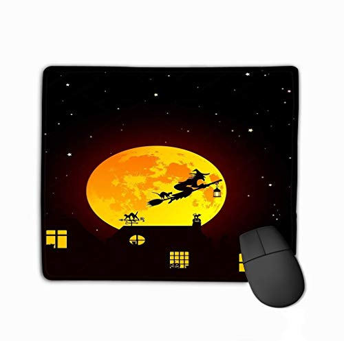 Mouse pad Ector Illustration Fairy Tale Halloween Landscape Realistic Full Yellow orange Moon Village Silhouettes ca Cats Windows steelseries Keyboard (Orange Moon Halloween)