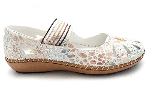 Rieker Cindy 44865-80, Damen Mary Jane Ballerina Off White Raindrop