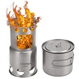 Festnight Outdoor Titanium Camping Cookware Set Folding Backpacking Camp Stove with 1100ml Pot