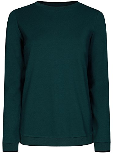 oodji Ultra Femme Sweat-shirt Coupe Droite à Col Rond Vert (6C00N)