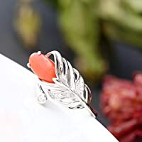 THTHT Vintage 925 Silver Ring Jade Woman Opening Natural Coral Feather Fashion Elegant Creative Classic Elegant Ethnic Characteristics