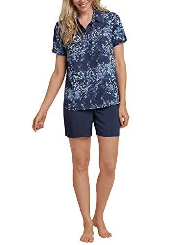 Schiesser Damen Anzug kurz, 1/2 Arm Zweiteiliger Schlafanzug, Blau (Dunkelblau 803), 40 (Herstellergröße: 040)