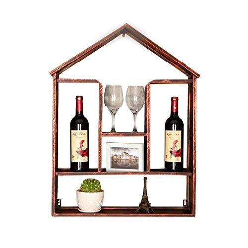 DJSMjbj Wand Weinregal Industrie Rack Wind Retro Weinflaschenhalter Halter 2 Flaschen Kreative Rackfür Wein Bar Dekoration 55 * 13 * 73 cm