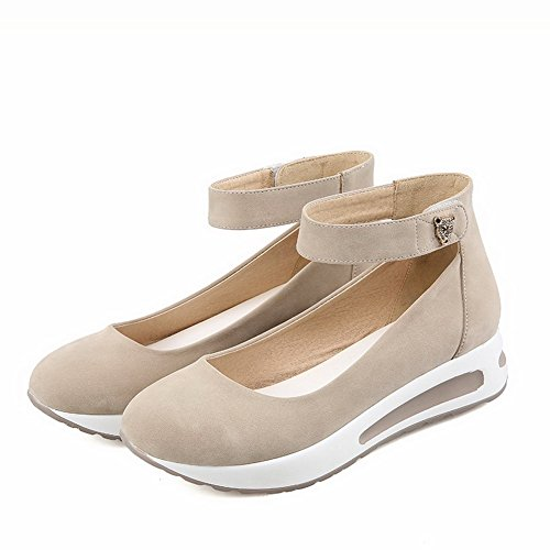 VogueZone009 Femme Suédé Mosaïque Velcro Rond à Talon Bas Chaussures Légeres Beige