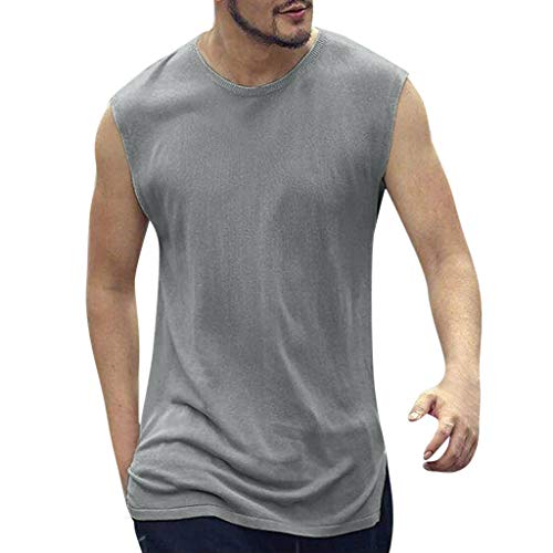 ♥ Loveso♥ Herren Fitness T-Shirt Männer Ärmellos Crop Shirt für Gym & Training Fitness T-Shirt Lose Casual Tops für Sommer