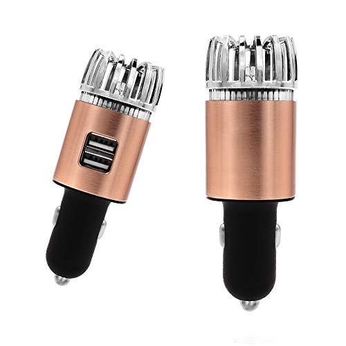 YuamMei 2 en 1 purificador de Aire de Iones Negativos para Autos con 2 Puertos USB, ambientador de Aire...