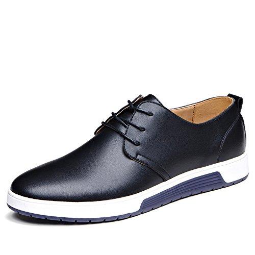 Casual Leder Herren Schuhe Business Halbschuhe Zum Schnürer Anzugschuhe Oxford Derbys Lederschuhe Wasserdicht Flache Schnürhalbschuhe Männer für Hochzeit Party Schwarz Übergrößenn 44