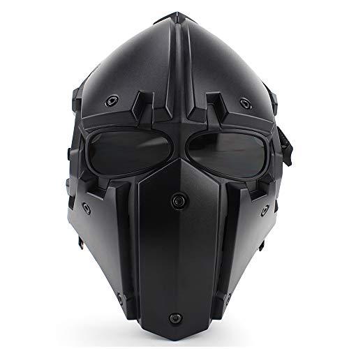 Casco di Protezione in Fibra di Carbonio Tattico per Equitazione All'Aperto Maschera One Protezione Completa per Motocicli CS Forze Speciali,Black-L