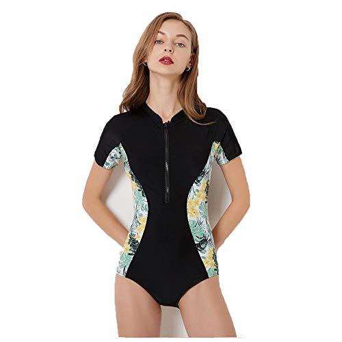 Einteiler Bademode Zip Up Printed Einteiler Surfing Badeanzug Frauen Kurzarm Rashguard Neoprenanzug Sport Athletic Swimwear Badeanzüge Sommer Beachwear Bodysuit ( Farbe : Schwarz , Größe : L ) (Badeanzug Einteiler Athletic)