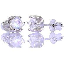 Mystic Silver - Preciosos Pendientes - Piedra natural de Piedra de luna Alta Calidad, Plata de ley 925. 16mm 2g