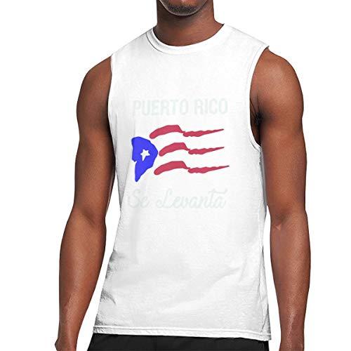 Herren-T-Shirt aus Baumwolle, ärmellos, mit Rican-Flagge, bequem, für Sport Gr. XXL, weiß