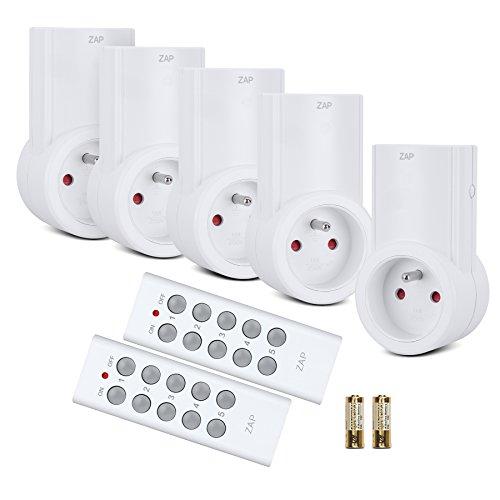Etekcity Lot de 5 Prises Télécommandées Programmables, Deux Télécommandes Incluses, Fonction All ON/ All OFF, Piles Fournies, Blanc