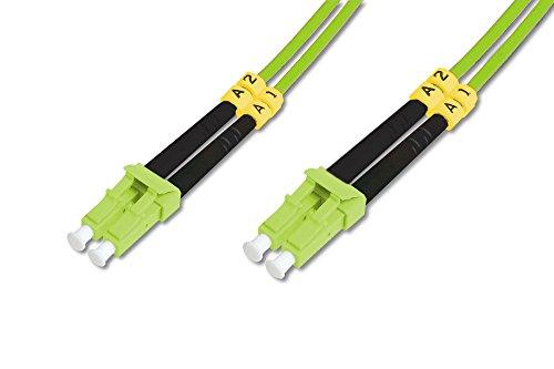 DIGITUS LWL Patch-Kabel OM5 - 10 m LC auf LC Glasfaser-Kabel - LSZH - Duplex Multimode 50/125µ - 40 GBit/s - Grün -