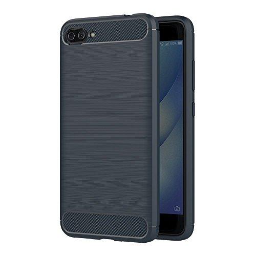 iVoler ASUS Zenfone 4 Max ZC554KL / ASUS Zenfone 4 Max Pro ZC554KL / ASUS Zenfone 4 Max Plus ZC554KL 5.5 Zoll Hülle, Carbon Faser Case Tasche Schutzhülle Soft Flex TPU Silikon Handyhülle - Blau