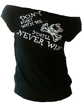 Diseño Ticila U-barco para mujer sexy camiseta Don 't Start with Me superior nunca se elimina el diseño de colour...