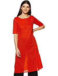 Indi lite Women Orange Solid with Gold Woven Motifs Cotton Three-Quarter Sleeves Front Slit Kurta with Gold Buttons