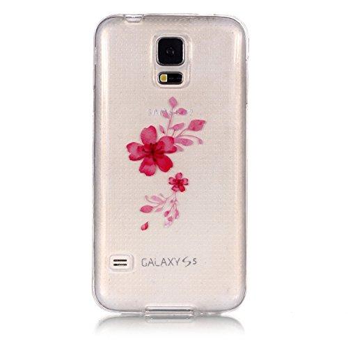Chreey Samsung Galaxy S5 Hülle, Azalee Muster Design TPU Weich Silikon Case Original Handy Schutzhülle Kristall Klar Ultradünn Transparent Backcover